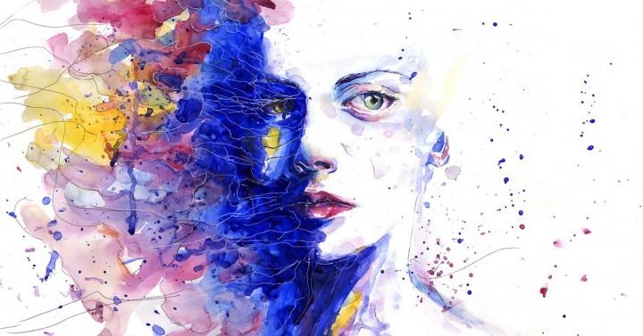 Watercolor Sad Woman