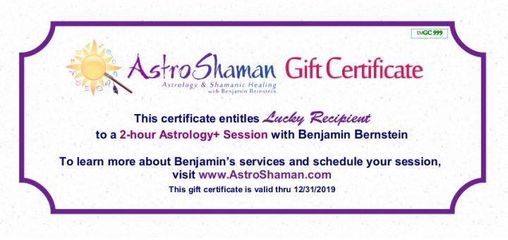 AstroShaman Gift Certificate Sample
