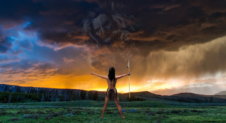 Female Shaman Facing Storm