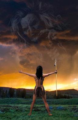 Female Shaman Facing Storm Vertical